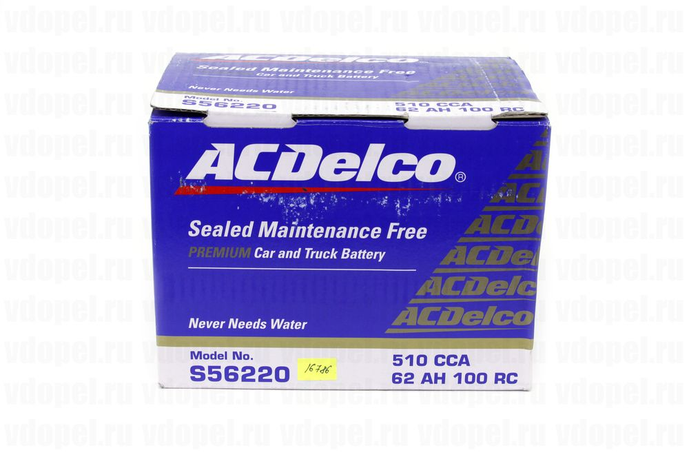 ACDELCO S56220  - Аккумулятор 12V60Ah, 510 CCА EN, 460 CCA (SAE,GS)  242x175x175 (GM)93197905