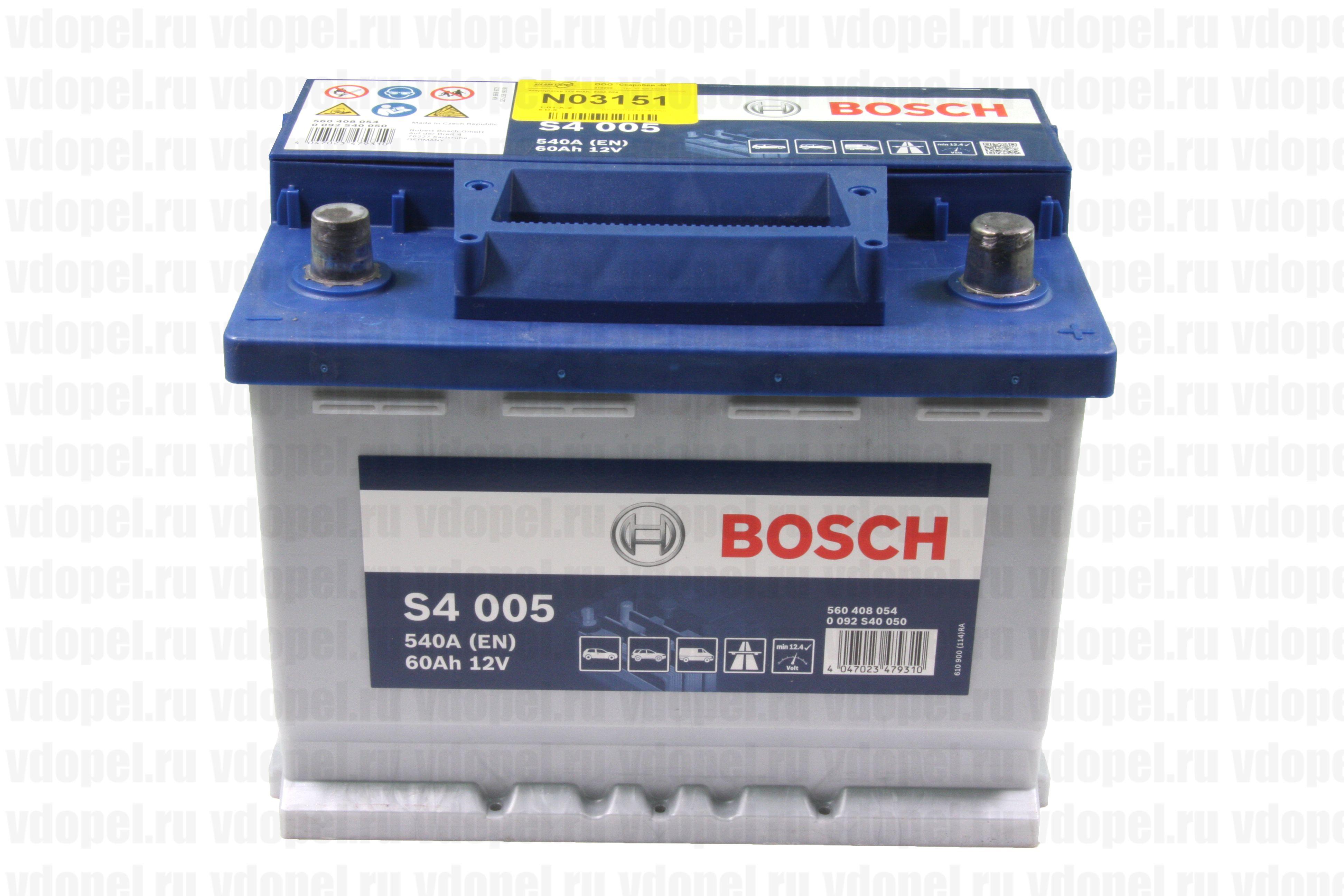 BOSCH 0092S40050  - Аккумулятор 12V 60Ah,  540А D24
