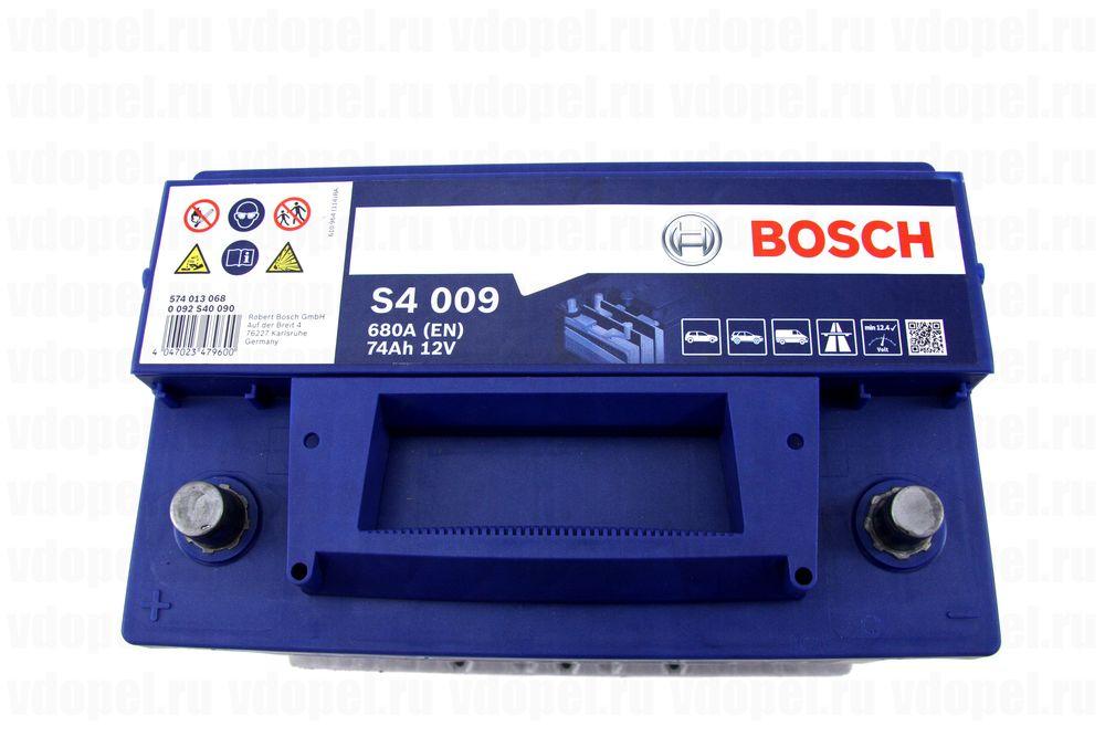 BOSCH 0092S40090  - Аккумулятор 12V74Ah, 680A, Антара. 275х190х175 прямая полярность