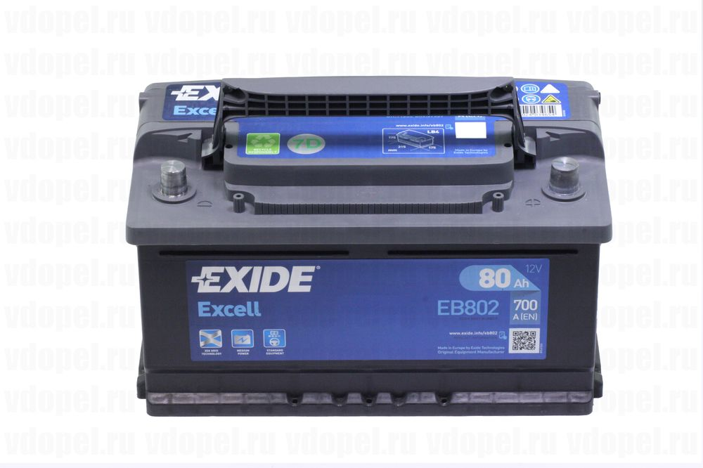EXIDE EB802  - Аккумулятор 12V80Ah, 700A 315x175x175 Астра J, Зафира С, Инсигния (дизель) , Мерива В