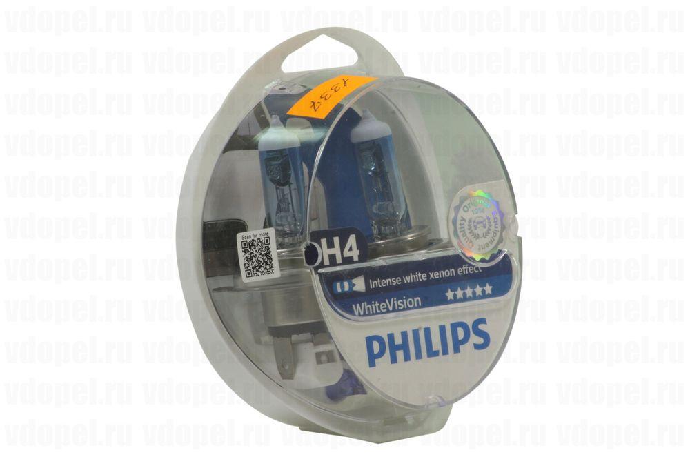 PHILIPS 12342WHVSM  - Лампа фары. 60/55W H4 WhiteVision на 60% ярче (Ком-кт 2шт. + W5W 2шт.)